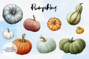 Hello Autumn Clipart, Leaves and Pumpkins Graphic Illustrations By Arte de Catrin 4