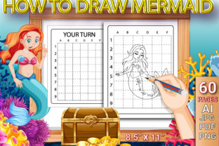 Print on Demand: How to Draw Cute Mermaid for Kids Graphic Coloring Pages & Books Kids By Simran Store