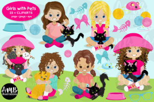 Kids with Pets, Kids with Dogs Clipart Graphic Illustrations By AMBillustrations