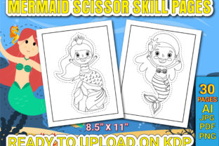 Print on Demand: Mermaid Scissor Skills Pages for Kids Graphic Coloring Pages & Books Kids By Simran Store