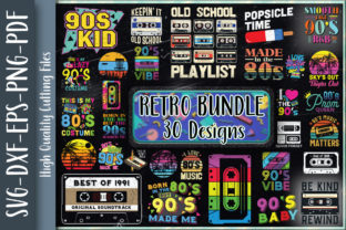 Print on Demand: Retro 80s 90s Bundle 30 Designs Graphic Crafts By Unlimab