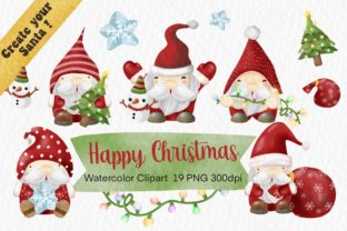 Print on Demand: Santa Watercolor Christmas Clipart Png Graphic Illustrations By AchitaStudio