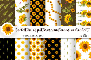 Print on Demand: Sunflowers and Wheat Seamless Patterns Graphic Patterns By ElenaZlataArt