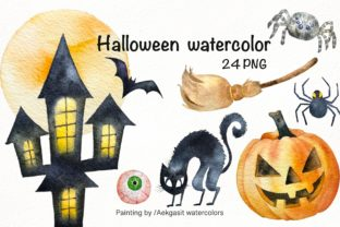 Print on Demand: Watercolor Clipart  for Halloween Graphic Illustrations By aekgasit
