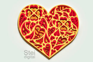 3d Heart Layered Design Svg, Dxf Files. Graphic 3D SVG By SteiDigital