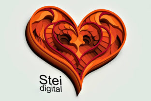 3d Layered Heart SVG, DXF Cut Files. Graphic 3D SVG By SteiDigital