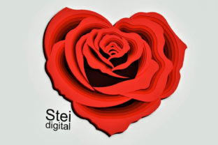 3d Layered Rose Heart Svg Dxf Cut Files. Graphic 3D Flowers By SteiDigital