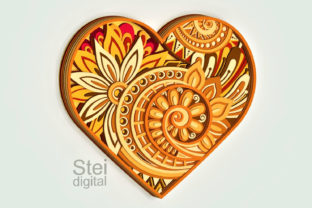 3d Layered Floral Heart Svg, Dxf Files. Graphic 3D Flowers By SteiDigital