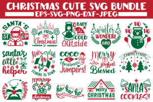 Print on Demand: Christmas Cute Svg Bundle. Graphic Crafts By Design Store Bd.Net