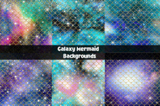 Print on Demand: Galaxy Mermaid Backgrounds Pack Graphic Backgrounds By Bellart