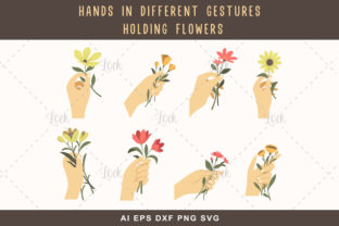 Hands in Different Gestures with Flower Graphic Crafts By AllmoStudio