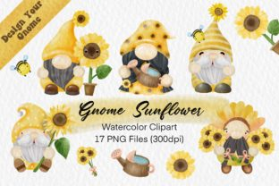 Print on Demand: Sunflower Gnome Watercolor Clipart Png Graphic Illustrations By AchitaStudio
