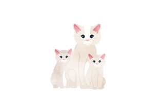 Ragdoll Cat with Kittens Watercolor Cats Craft Cut File By Creative Fabrica Crafts
