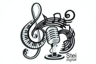 3D Layered Music Microphone Graphic 3D SVG By SteiDigital