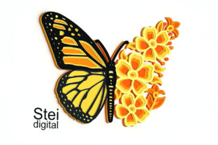 3d Floral Butterfly SVG, DXF Cut Files. Graphic 3D SVG By SteiDigital