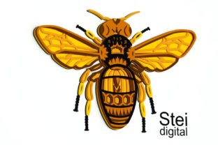 3d Layered Queen Bee SVG, Dxf Cut Files. Graphic 3D SVG By SteiDigital 1