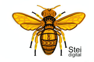 3d Layered Queen Bee SVG, Dxf Cut Files. Graphic 3D SVG By SteiDigital 3