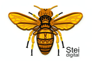 3d Layered Queen Bee SVG, Dxf Cut Files. Graphic 3D SVG By SteiDigital 4