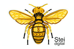3d Layered Queen Bee SVG, Dxf Cut Files. Graphic 3D SVG By SteiDigital 5