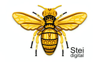3d Layered Queen Bee SVG, Dxf Cut Files. Graphic 3D SVG By SteiDigital 6