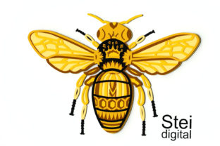3d Layered Queen Bee SVG, Dxf Cut Files. Graphic 3D SVG By SteiDigital 7
