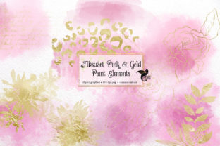 Print on Demand: Abstract Pink and Gold Paint Elements Graphic Illustrations By Digital Curio