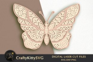 Butterfly 3D Laser Cut Template Graphic 3D SVG By CraftyKittySVG