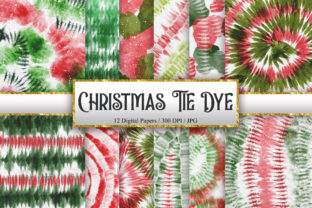 Print on Demand: Christmas Tie Dye Digital Papers Graphic Backgrounds By PinkPearly