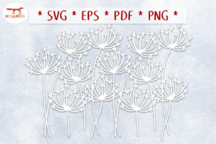 Dandelion Seedhead Repeating Border SVG Graphic Crafts By Nic Squirrell