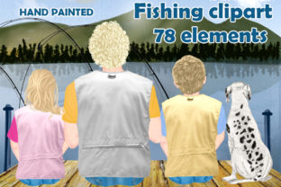 Print on Demand: Fishing Clipart,Father with Kids Graphic Graphic Illustrations By LeCoqDesign