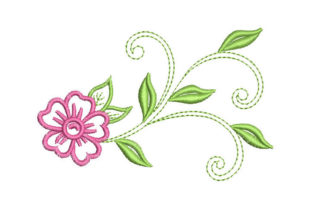 Flower with Leaves Floral & Garden Embroidery Design By Embroiderypacks