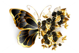 Gold Flower Butterfly with Black Orchid Graphic Illustrations By Blackmoon9