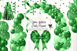 Print on Demand: Green Balloon Arch Clipart Graphic Illustrations By Digital Curio