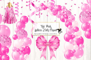 Print on Demand: Hot Pink Balloon Arch Clipart Graphic Illustrations By Digital Curio
