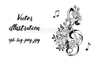 Musical Clef with Outline Roses Graphic Illustrations By Blackmoon9