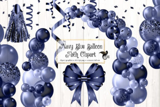 Print on Demand: Navy Blue Balloon Arch Clipart Graphic Illustrations By Digital Curio