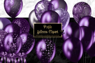 Print on Demand: Purple Balloons Clipart Graphic Illustrations By Digital Curio