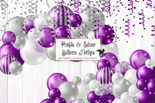Print on Demand: Purple and Silver Balloon Arch Clipart Graphic Illustrations By Digital Curio