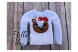 Reindeer Girl Christmas Embroidery Design By Bella Bleu Embroidery