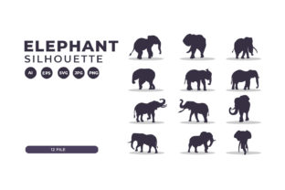 Silhouettes of Elephant Collection Graphic Illustrations By Role Graphic