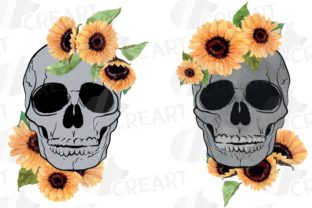 Print on Demand: Sunflower Skull Watercolour Decoration Graphic Print Templates By CreartGraphics