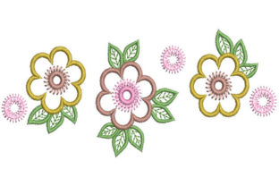 Three Flowers Floral & Garden Embroidery Design By Embroiderypacks