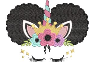 Print on Demand: Unicorn Afro Puffs Princess Fairy Tales Embroidery Design By ArtEMByNatali