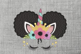 Print on Demand: Unicorn Afro Puffs Princess Fairy Tales Embroidery Design By ArtEMByNatali 3
