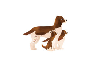 English Cocker Spaniel with Puppies Watercolor Dogs Craft Cut File By Creative Fabrica Crafts