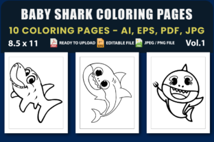 Baby Shark Coloring Pages Vol.1 Graphic Coloring Pages & Books Kids By triggeredit