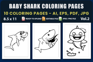 Baby Shark Coloring Pages Vol.2 Graphic Coloring Pages & Books Kids By triggeredit
