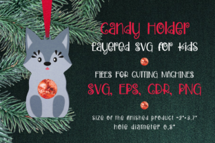 Print on Demand: Baby Wolf  Candy Holder Template SVG Graphic 3D Christmas By Olga Belova