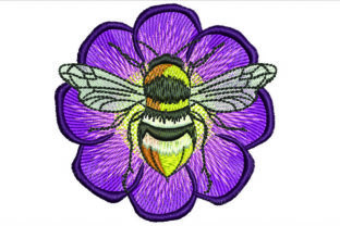 Print on Demand: Bee on Flower Bugs & Insects Embroidery Design By Samsul Huda