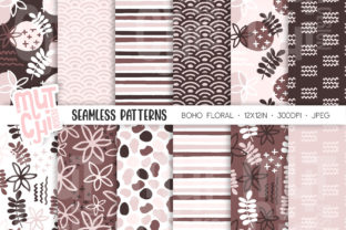 Print on Demand: Boho Floral Seamless Patterns Graphic Patterns By MutchiDesign